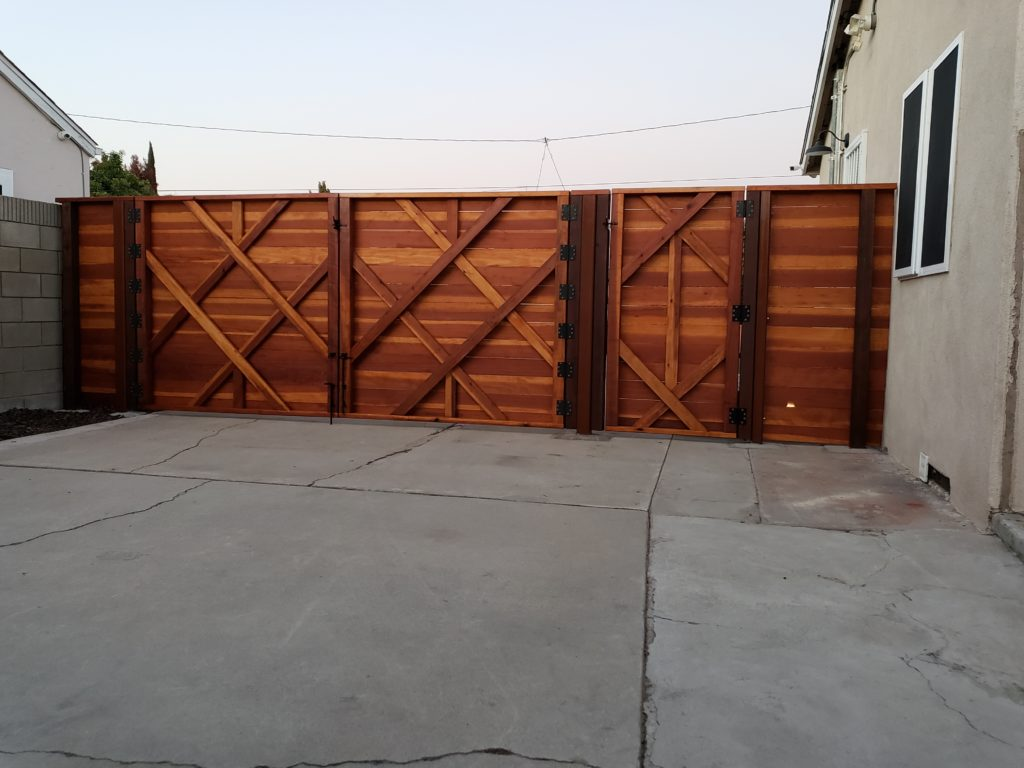 Custom Horizontal Double-Swinger Wood Driveway Gate + Matching Pedestrian Gate, inside view, El Monte 91732, Built by WoodFenceExpert.com