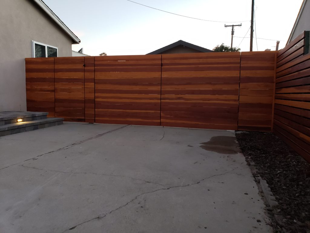 Custom Horizontal Double-Swinger Wood Driveway Gate + Matching Pedestrian Gate, outside view, El Monte 91732, Built by WoodFenceExpert.com