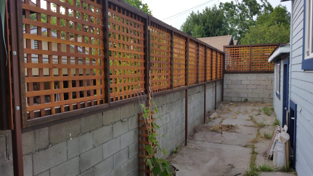Custom Wood Lattice Floating-Elevated Semi-Privacy Screen, Stained, in Los Angeles, Built by WoodFenceExpert.com