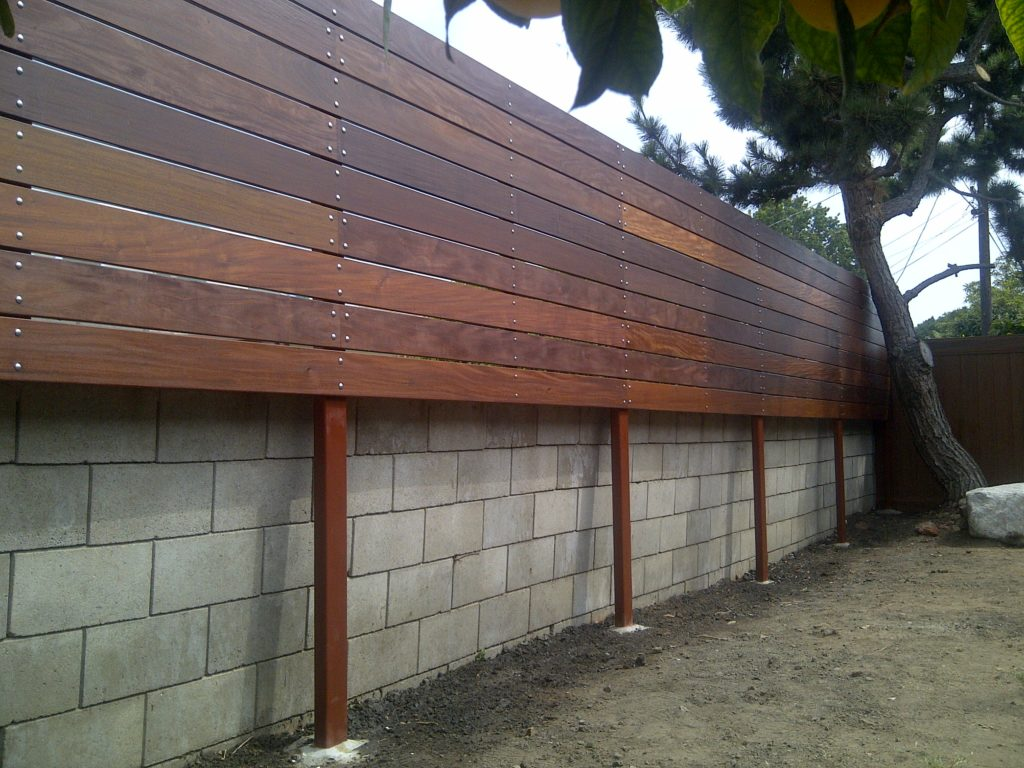 1x6 Ipe Elevated/Floating Horizontal Semi-privacy Fence 2 of 2, Built and stained by WoodFenceExpert.com