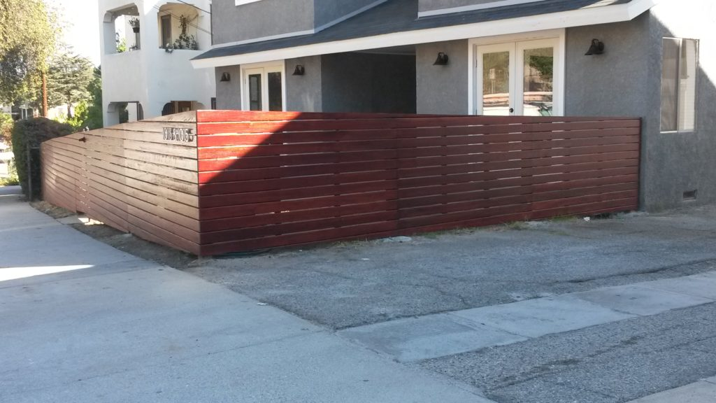 4' Tall Sloping Horizontal Front Yard Fence & Pedestrian Gate in Los Angeles #1, Built and Stained by WoodFenceExpert.com