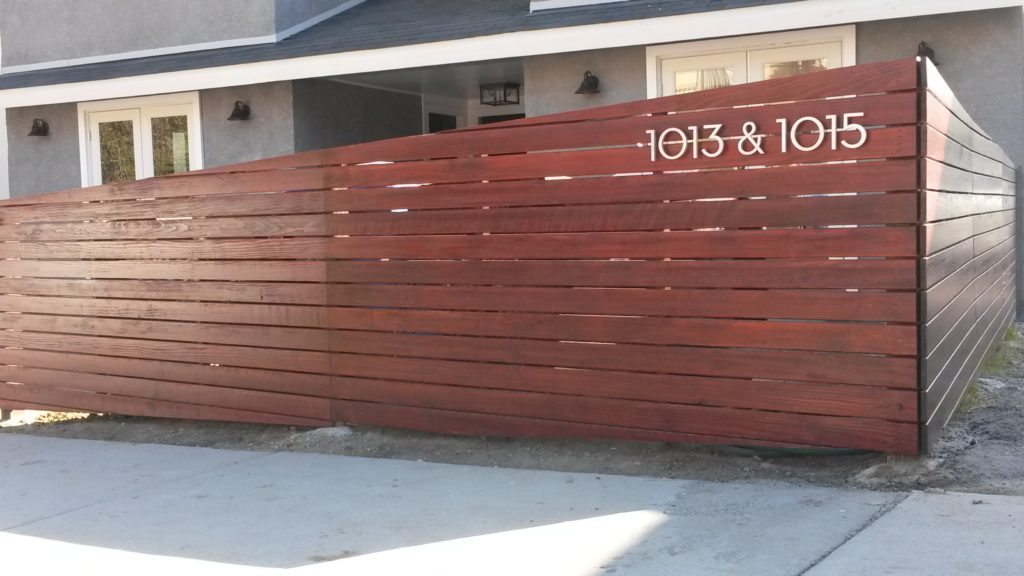 4' Tall Sloping Horizontal Front Yard Fence & Pedestrian Gate in Los Angeles #2, Built and Stained by WoodFenceExpert.com