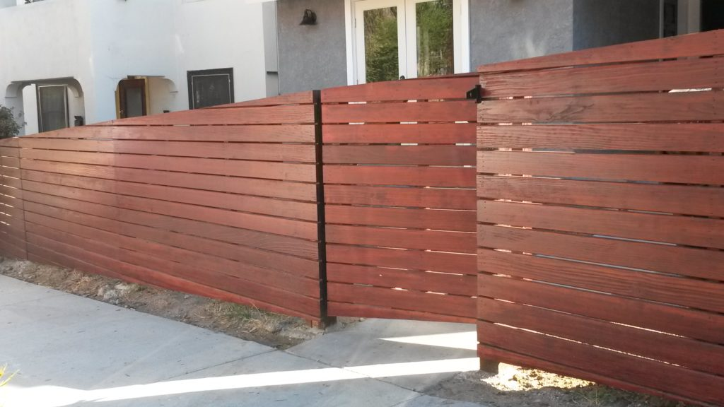 4' Tall Sloping Horizontal Front Yard Fence & Pedestrian Gate in Los Angeles #4, Built and Stained by WoodFenceExpert.com