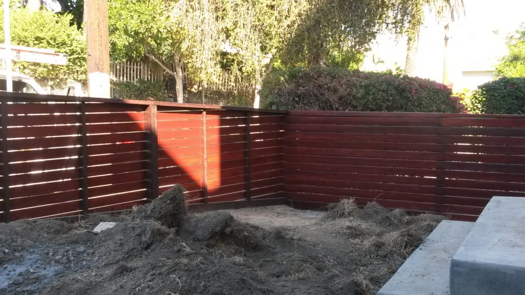 4' Tall Sloping Horizontal Front Yard Fence & Pedestrian Gate in Los Angeles #6, Built and Stained by WoodFenceExpert.com