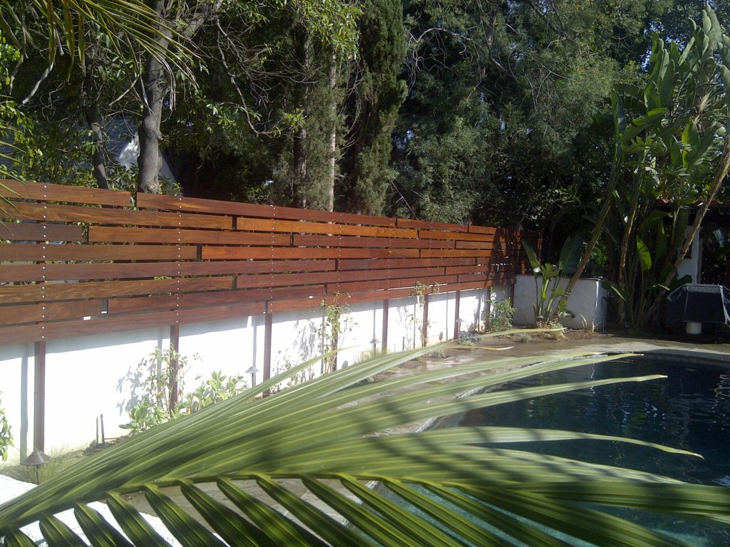 Custom Evelated/Floating 1x6 Ipe Horizontal Wood Semi-privacy Fence