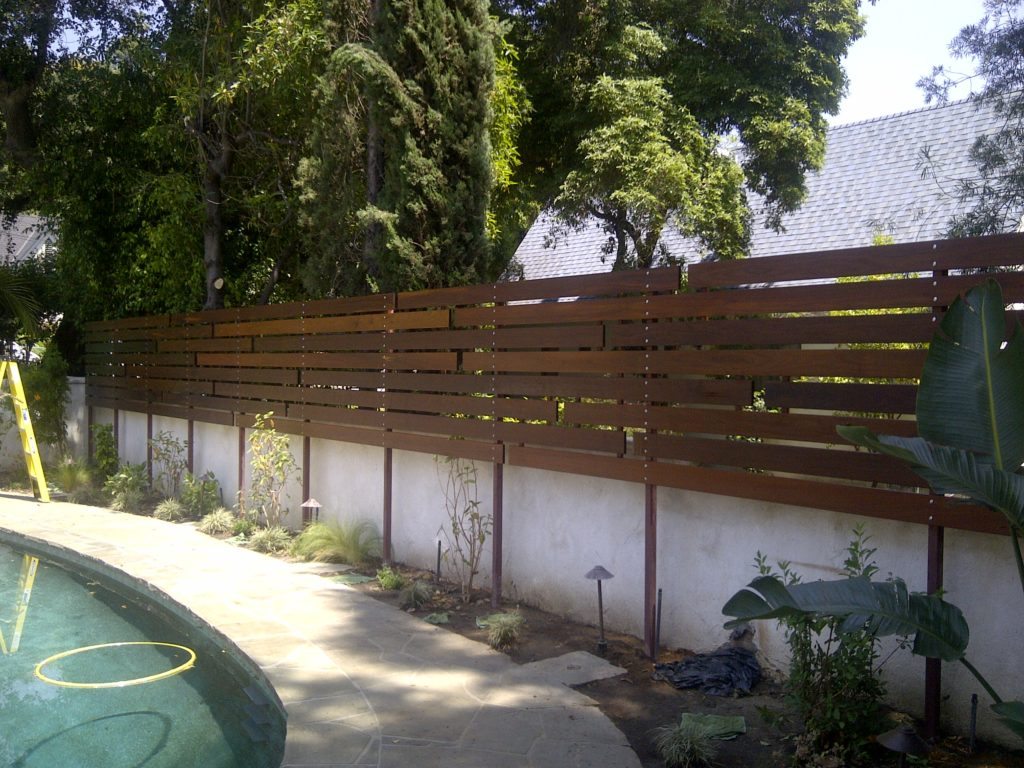 Custom Evelated/Floating 1x6 Ipe Horizontal Wood Semi-privacy Fence #2