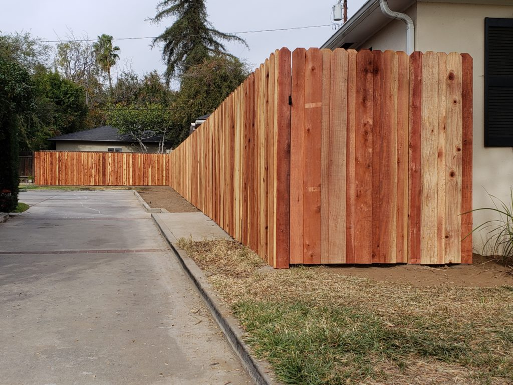Board-on-Board-Overlapping-Backyard-Privacy-Redwood-Fence-with-Heavy-Duty-Matching-Pedestrian-Gate-1-of-3, 91107-Built-by-WoodFenceExpert.com