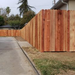 Latest Wood Fence Project in the Los Angeles Area:  Board-on-Board Overlapping Backyard Privacy Redwood Fence with Heavy Duty Matching Pedestrian Gate