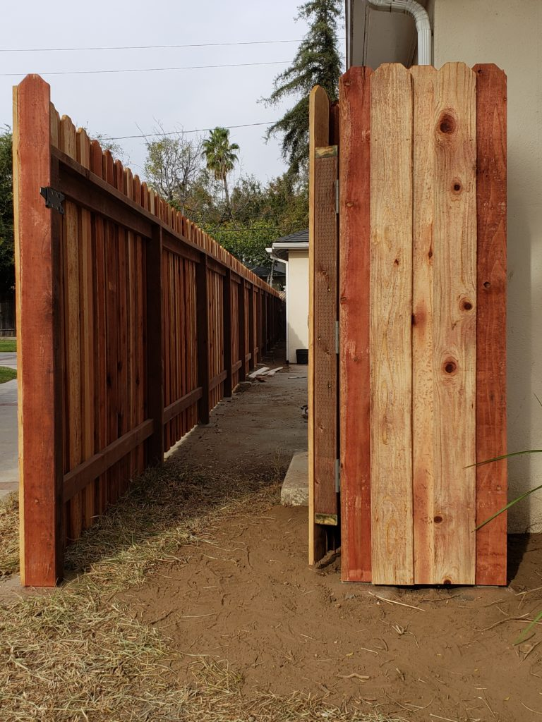 Board-on-Board-Overlapping-Backyard-Privacy-Redwood-Fence-with-Heavy-Duty-Matching-Pedestrian-Gate-2-of-3, 91107-Built-by-WoodFenceExpert.com