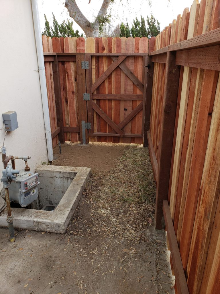 Board-on-Board-Overlapping-Backyard-Privacy-Redwood-Fence-with-Heavy-Duty-Matching-Pedestrian-Gate-3-of-3, 91107-Built-by-WoodFenceExpert.com