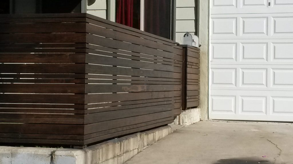 Close-up After Modern Horizontal Wood Fence and Gate in Los Angeles, Built and Stained by WoodFenceExpert.com