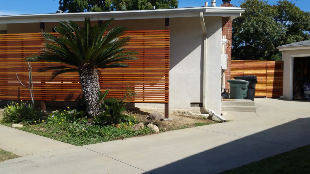 Modern Horizontal Wood Fence and Gates with matching Semi-privacy Sun-shades 3 of 3, Built and stained by WoodFenceExpert.com