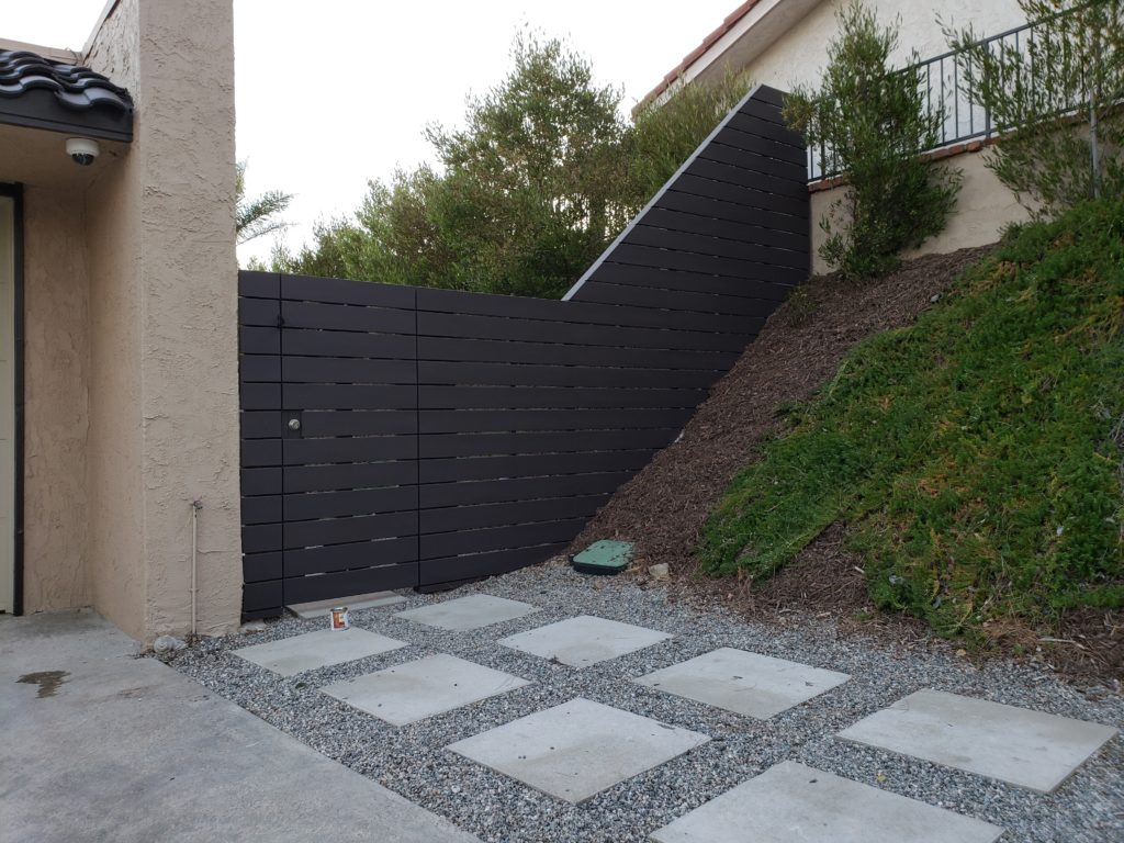 Custom Horizontal Wood Fence + Matching Pedestrian Gates, Clairemont, 91711, 1 of 4, Built and painted by WoodFenceExpert.com