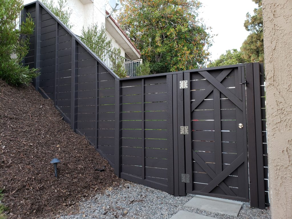 Custom Horizontal Wood Fence + Matching Pedestrian Gates, Clairemont, 91711, 2 of 4, Built and painted by WoodFenceExpert.com