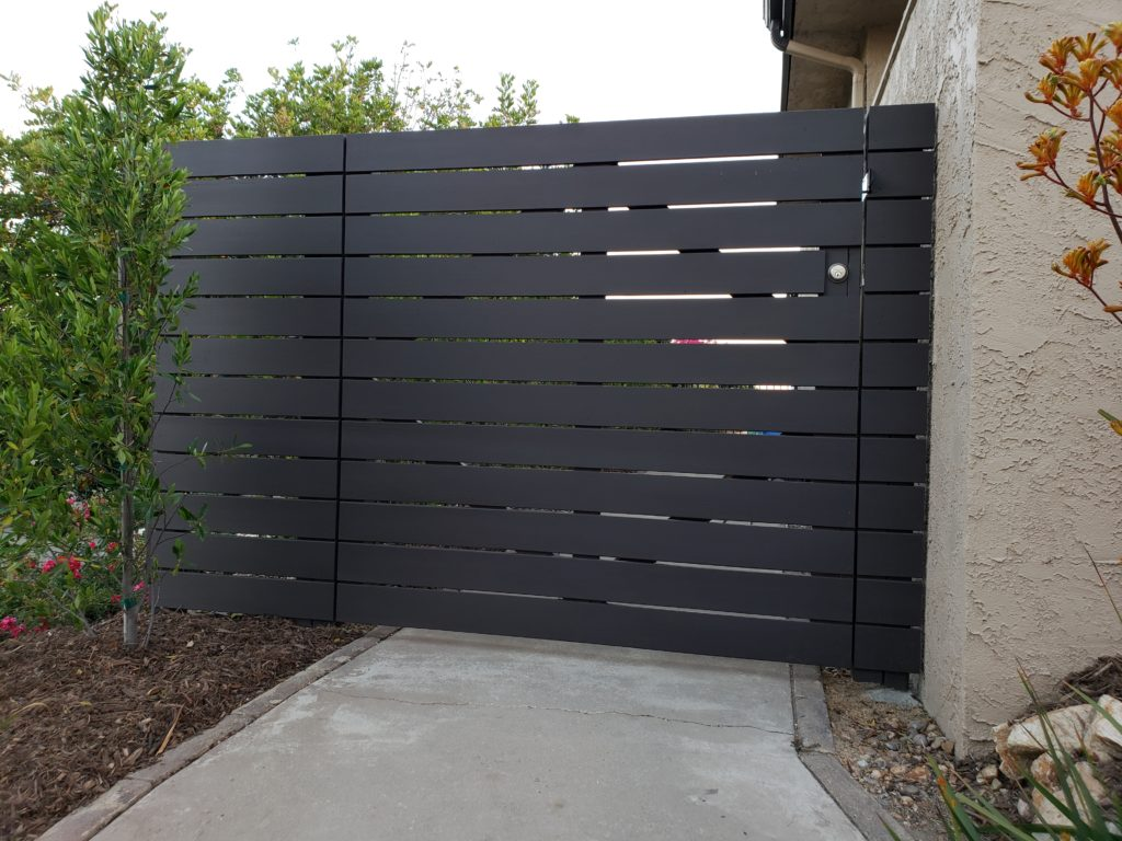 Modern Horizontal Wood Fence + Matching Pedestrian Gates, Clairemont, 91711, 3 of 4, Built and painted by WoodFenceExpert.com