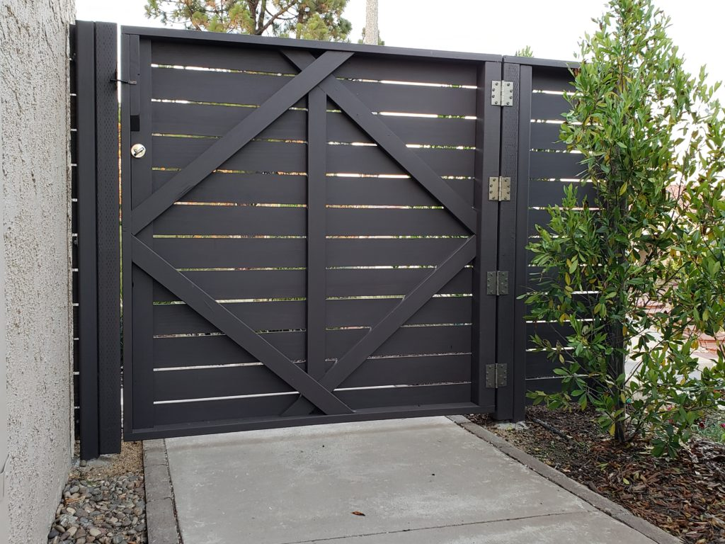 Modern Horizontal Wood Fence + Matching Pedestrian Gates, Clairemont, 91711, 4 of 4, Built and painted by WoodFenceExpert.com