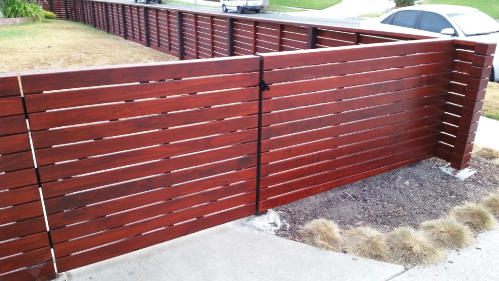 Front yard modern horizontal wood fence + matching pedestrian gate in Los Angeles, Built and stained by WoodFenceExpert.com #1