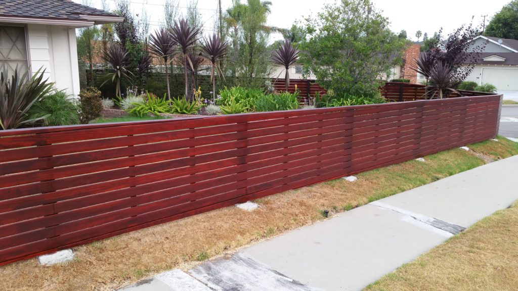 Front yard modern horizontal wood fence + matching pedestrian gate in Los Angeles, Built and stained by WoodFenceExpert.com #3