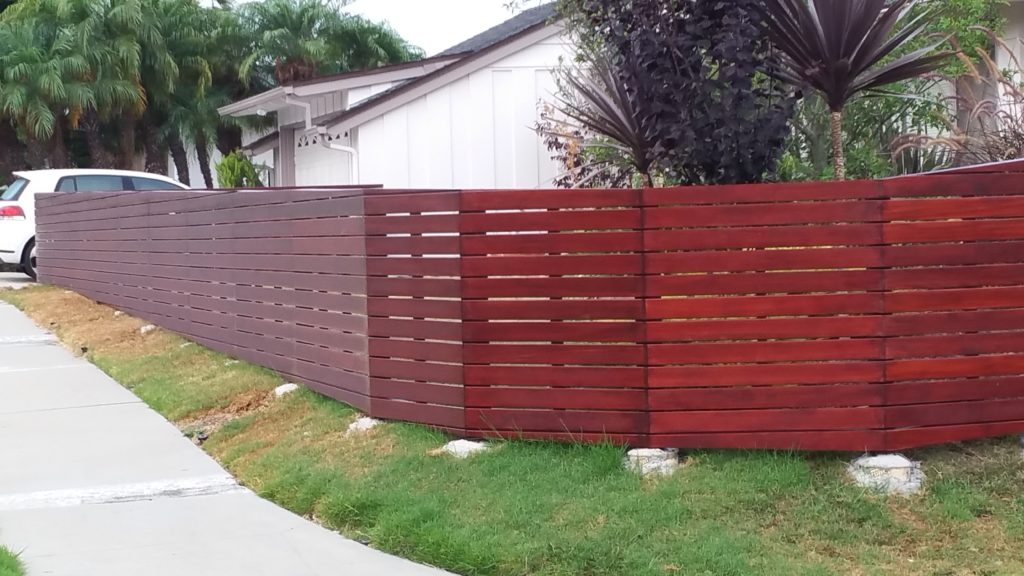 Front yard modern horizontal wood fence + matching pedestrian gate in Los Angeles, Built and stained by WoodFenceExpert.com #4