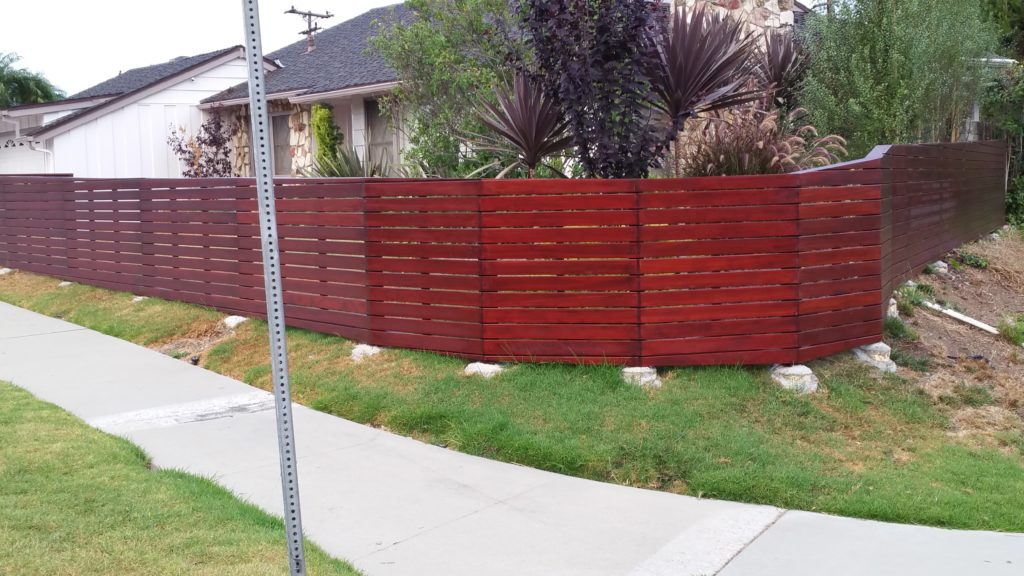 Front yard modern horizontal wood fence + matching pedestrian gate in Los Angeles, Built and stained by WoodFenceExpert.com #5