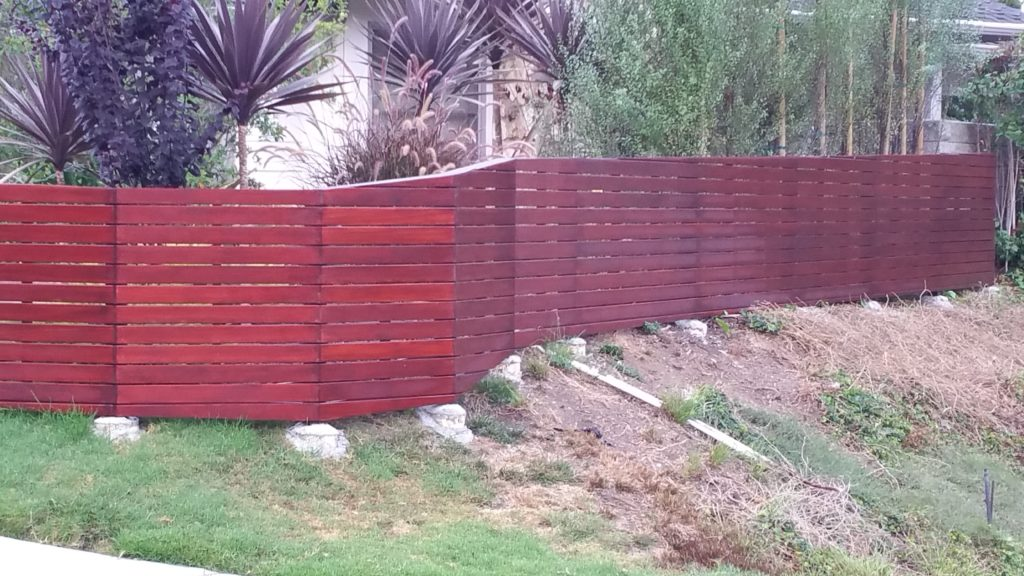 Front yard modern horizontal wood fence + matching pedestrian gate in Los Angeles, Built and stained by WoodFenceExpert.com #6