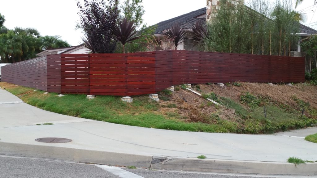 Front yard modern horizontal wood fence + matching pedestrian gate in Los Angeles, Built and stained by WoodFenceExpert.com #7