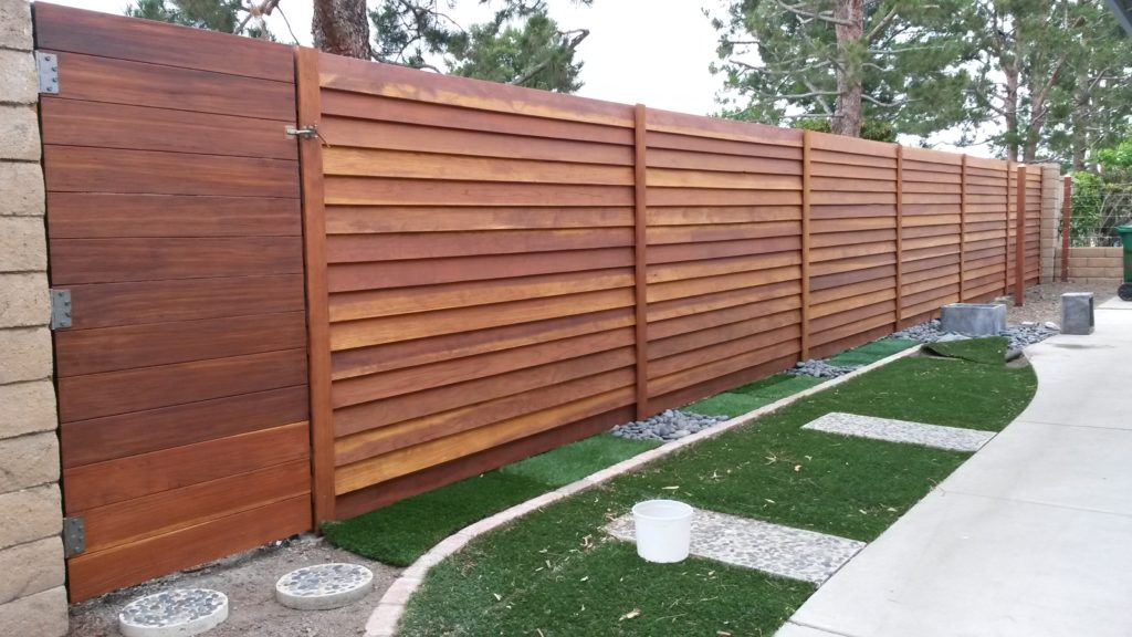 Modern Horizontal Backyard Wood Privacy Fence with Gate inside, Irvine, Built and Stained by WoodFenceExpert.com
