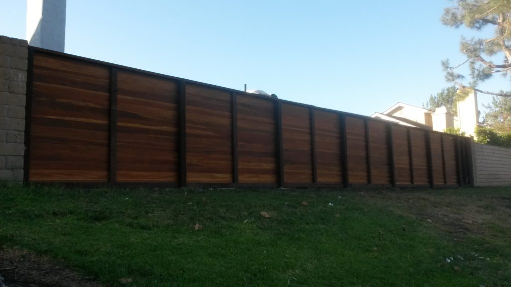 Modern Horizontal Backyard Wood Privacy Fence with Gate outside, Irvine, Built and Stained by WoodFenceExpert.com