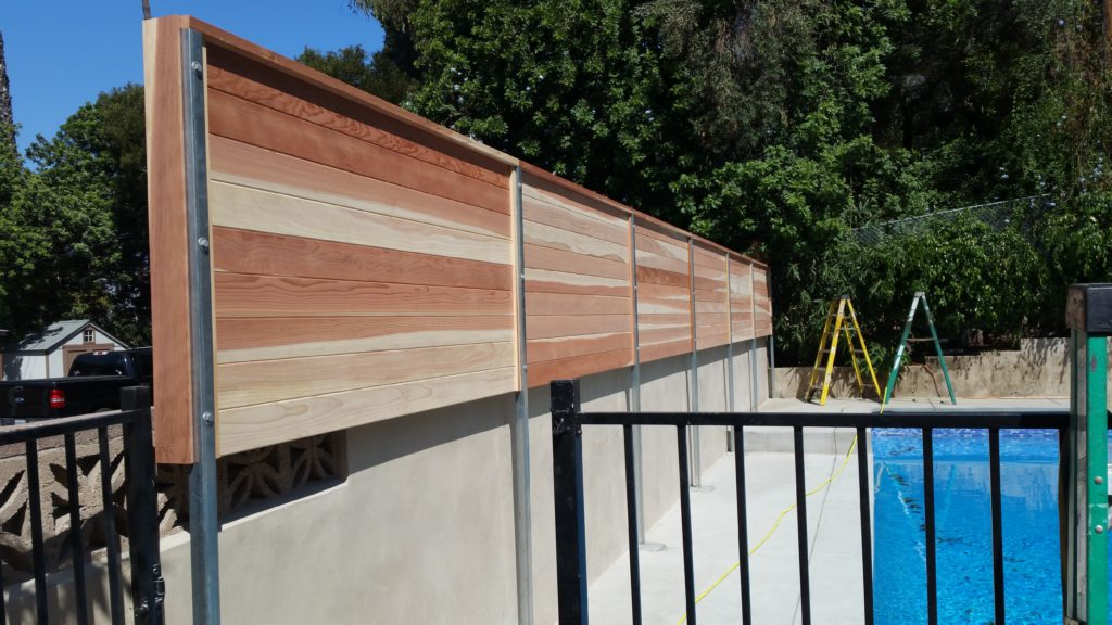 Modern Horizontal Floating Wood Privacy Fence 1 of 3, Los Angeles 90027