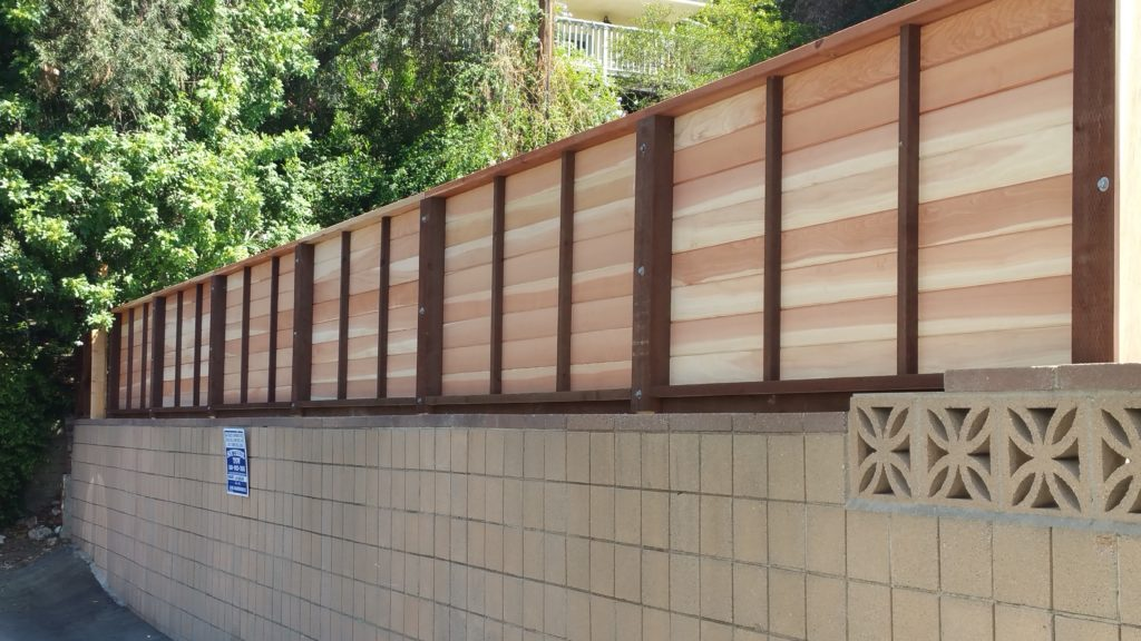 Modern Horizontal Floating Wood Privacy Fence 2 of 3, Los Angeles 90027