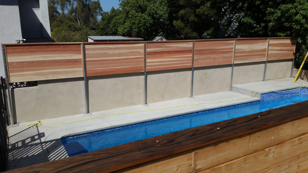 Modern Horizontal Floating Wood Privacy Fence 3 of 3, Los Angeles 90027