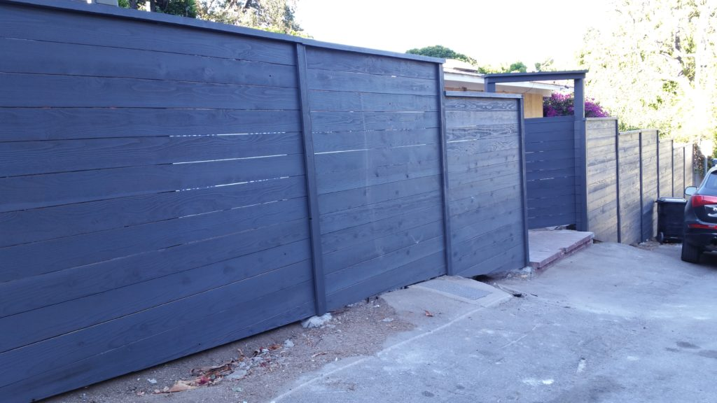 Modern Horizontal Front Yard Wood Fence + Matching Pedestrian Gate Portal in Los Angeles, 2 or 2, Built and painted by WoodFenceExpert.com