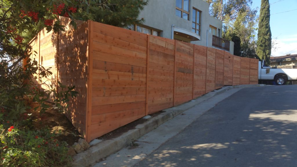 Modern Horizontal Front Yard Wood Fence + Matching Pedestrian Gates, Los Angeles 90026, 3 of 3, Built by WoodFenceExpert.com