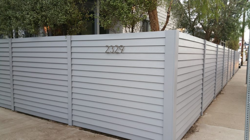 Modern Horizontal Wood Fence + Gates & Matching Utility Enclosure, Venice, #1, Built and Painted by WoodFenceExpert.com