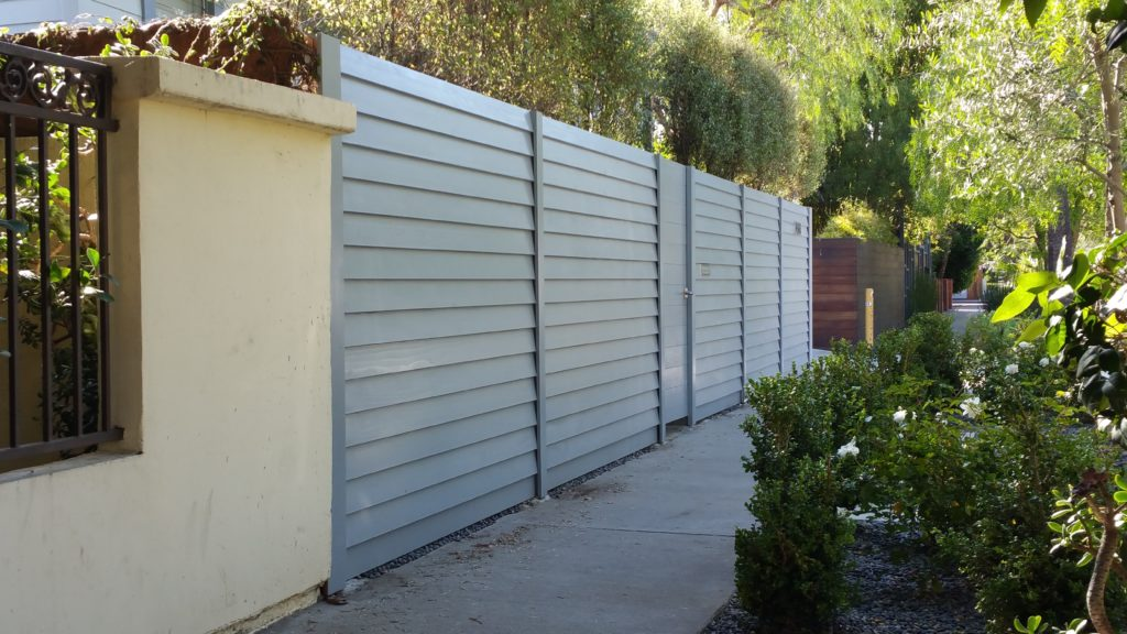 Modern Horizontal Wood Fence + Gates & Matching Utility Enclosure, Venice, #2, Built and Painted by WoodFenceExpert.com