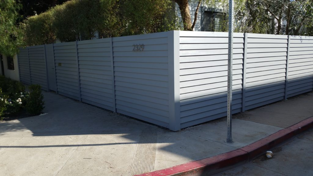 Modern Horizontal Wood Fence + Gates & Matching Utility Enclosure, Venice, #5, Built and Painted by WoodFenceExpert.com