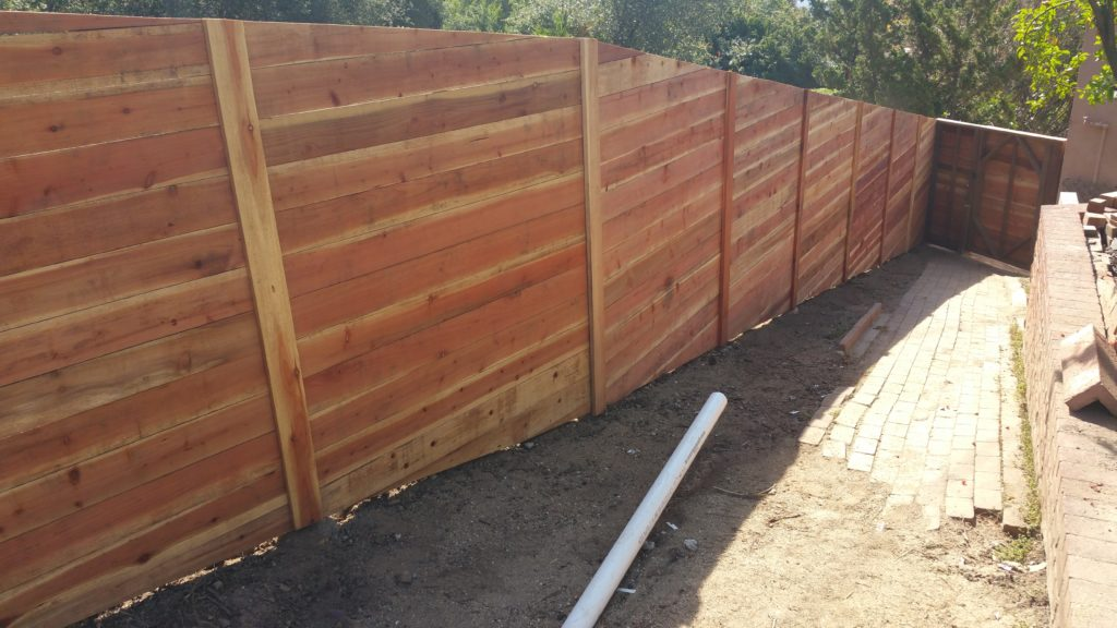 Modern Horizontal Wood Fence + Matching Pedestrian Gate, Sierra Madre 91024, 1 of 4, Built by WoodFenceExpert.com