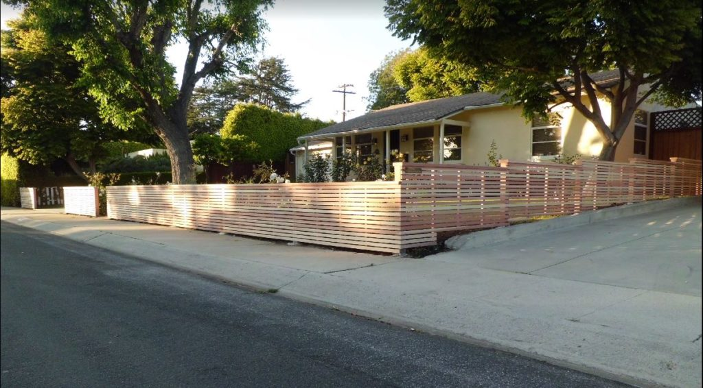 Modern Horizontal Wood Fence + Matching Pedestrian Gate in Mar Vista, Los Angeles, Built and stained by WoodFenceExpert.com