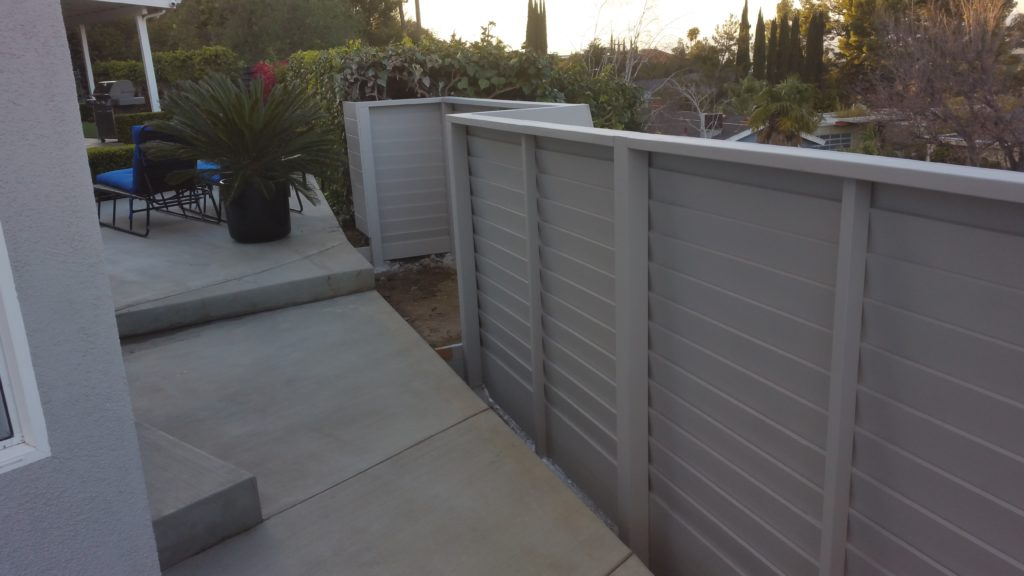 Modern Horizontal Wood Fence + Pedestrian Gate, 2 of 8, Studio City, 91604; Built and Painted by WoodFenceExpert.com