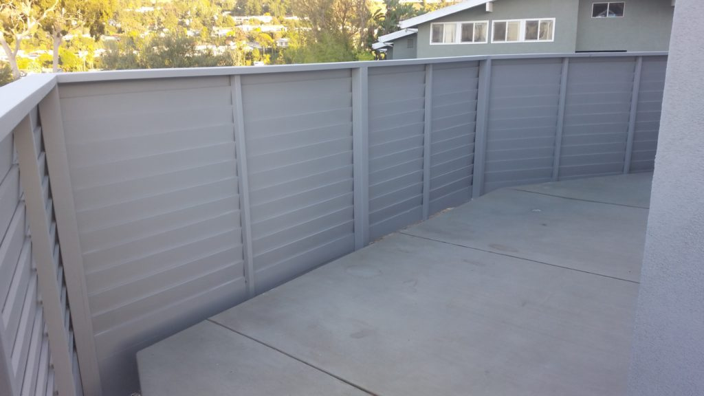 Modern Horizontal Wood Fence + Pedestrian Gate, 3 of 8, Studio City, 91604; Built and Painted by WoodFenceExpert.com