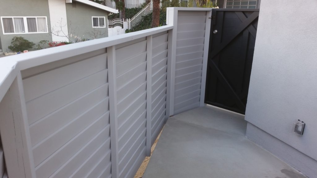 Modern Horizontal Wood Fence + Pedestrian Gate, 4 of 8, Studio City, 91604; Built and Painted by WoodFenceExpert.com