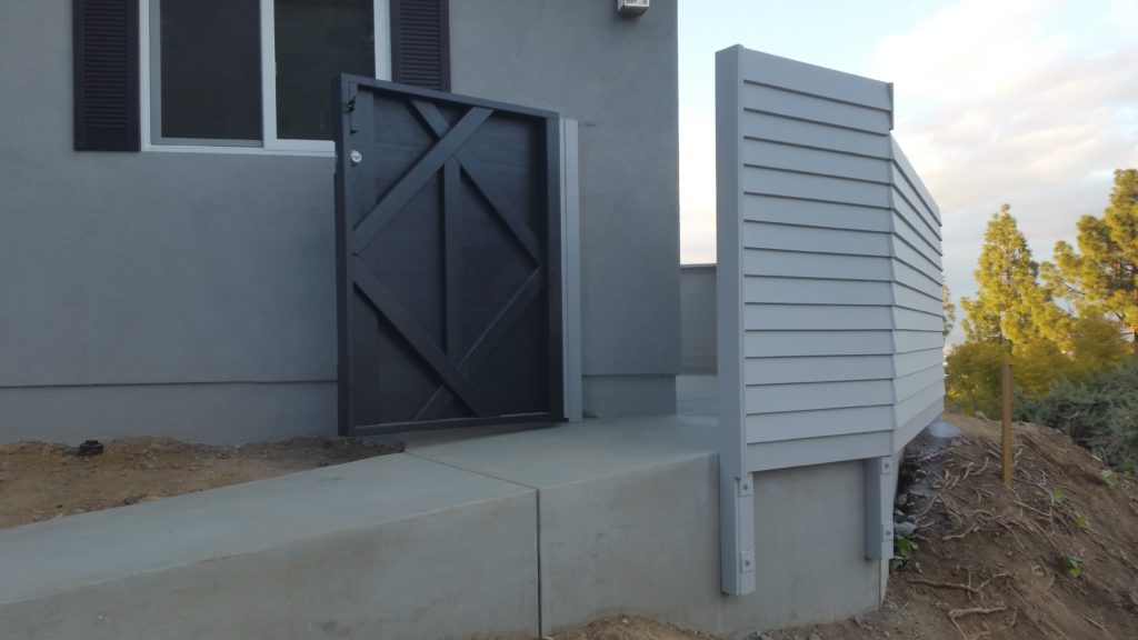 Modern Horizontal Wood Fence + Pedestrian Gate, 5 of 8, Studio City, 91604; Built and Painted by WoodFenceExpert.com