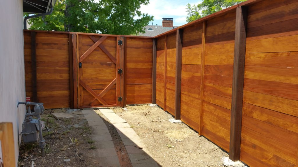 Modern Horizontal Wood Privacy Fence with Matching Pedestrian Gate in Los Angeles 91604, inside view, Built and stained by WoodFenceExpert.com