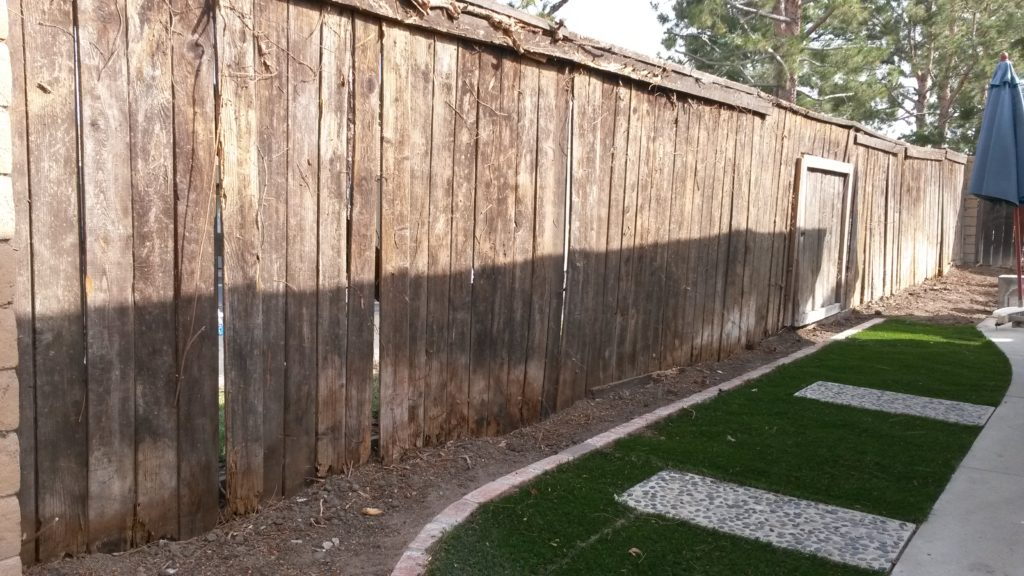 OLD FENCE, BEFORE our Modern Horizontal Backyard Wood Privacy Fence with Gate, Irvine, Built and Stained by WoodFenceExpert.com