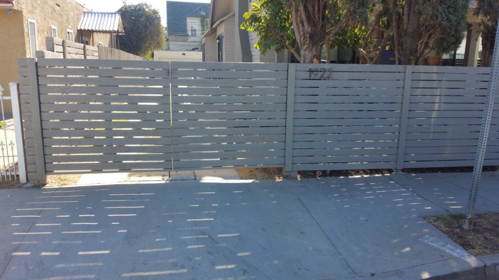 modern horizontal wood fence with matching pedestrian and double-swinger driveway gates in Los Angeles, 3 of 9, built and painted by WoodFenceExpert.com